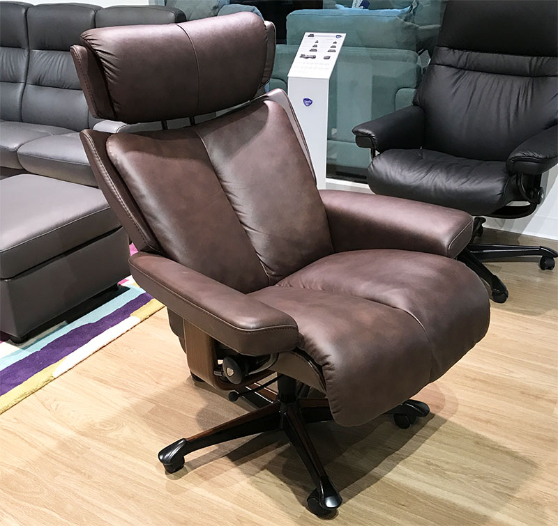 Stressless Magic Paloma Chocolate Leather Office Desk Chair