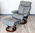 Stressless Magic Recliner Chair and Ottoman in Paloma Metal Grey Leather