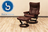 Stressless Wing Medium Recliner and  Ottoman - Cori Amarone Leather