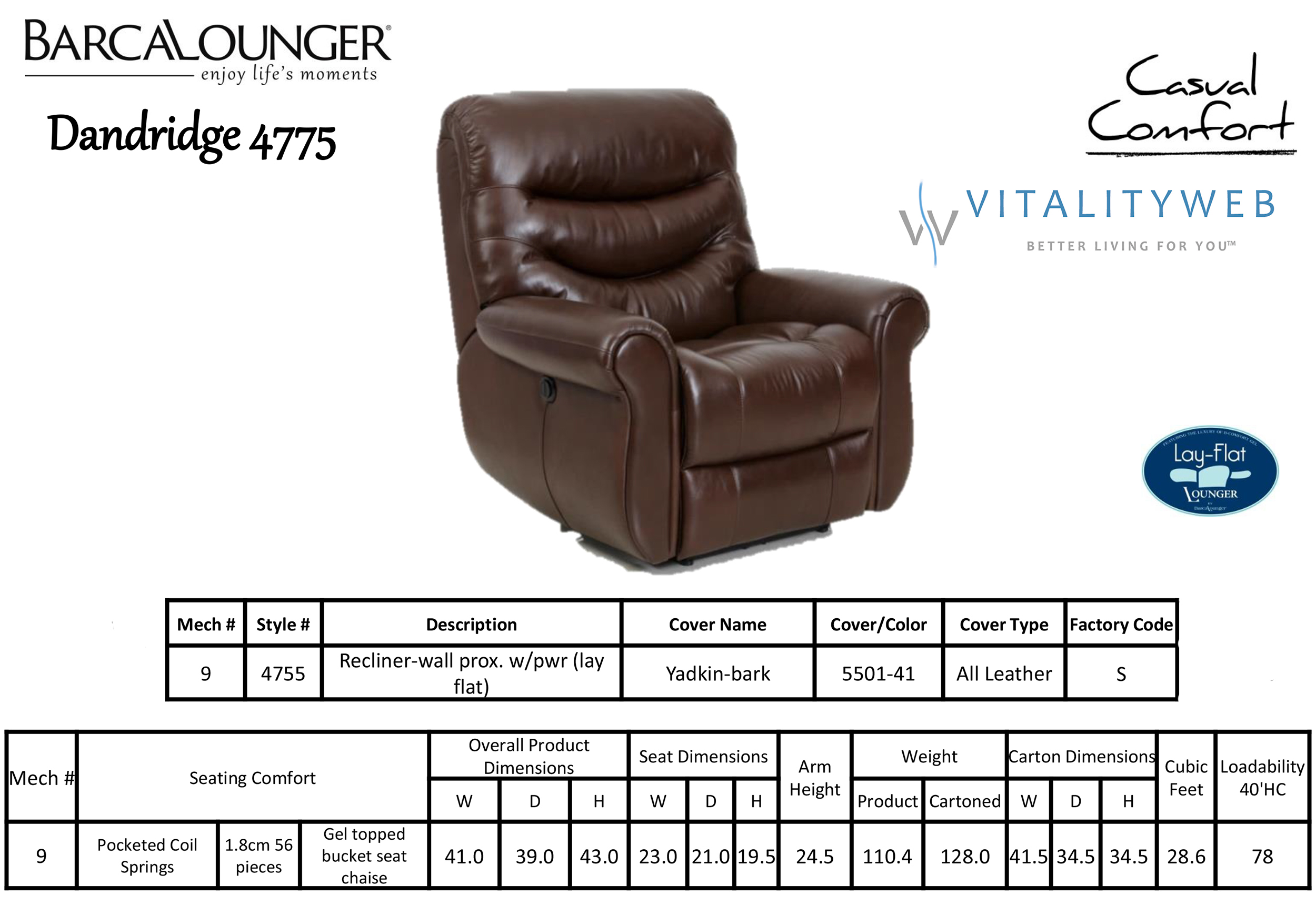 Barcalounger Dandridge 4775 Leather Recliner Chair Dimensions  sc 1 st  Vitalitywebb.com : recliners that lay flat - islam-shia.org