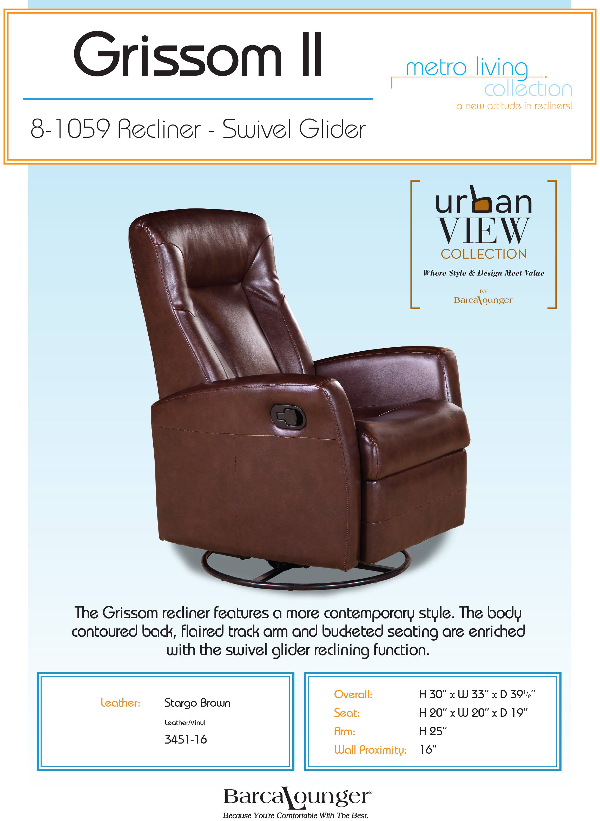 Barcalounger Eclipse II Leather Recliner Chair and Ottoman  sc 1 st  Vitalitywebb.com & Barcalounger Grissom II Swivel Glider Recliner Chair - Leather ... islam-shia.org