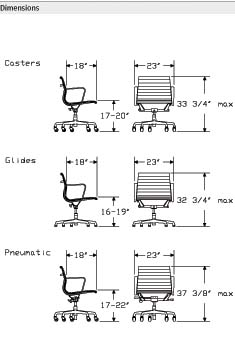 Eames Management Aluminum Group Chair Dimensions