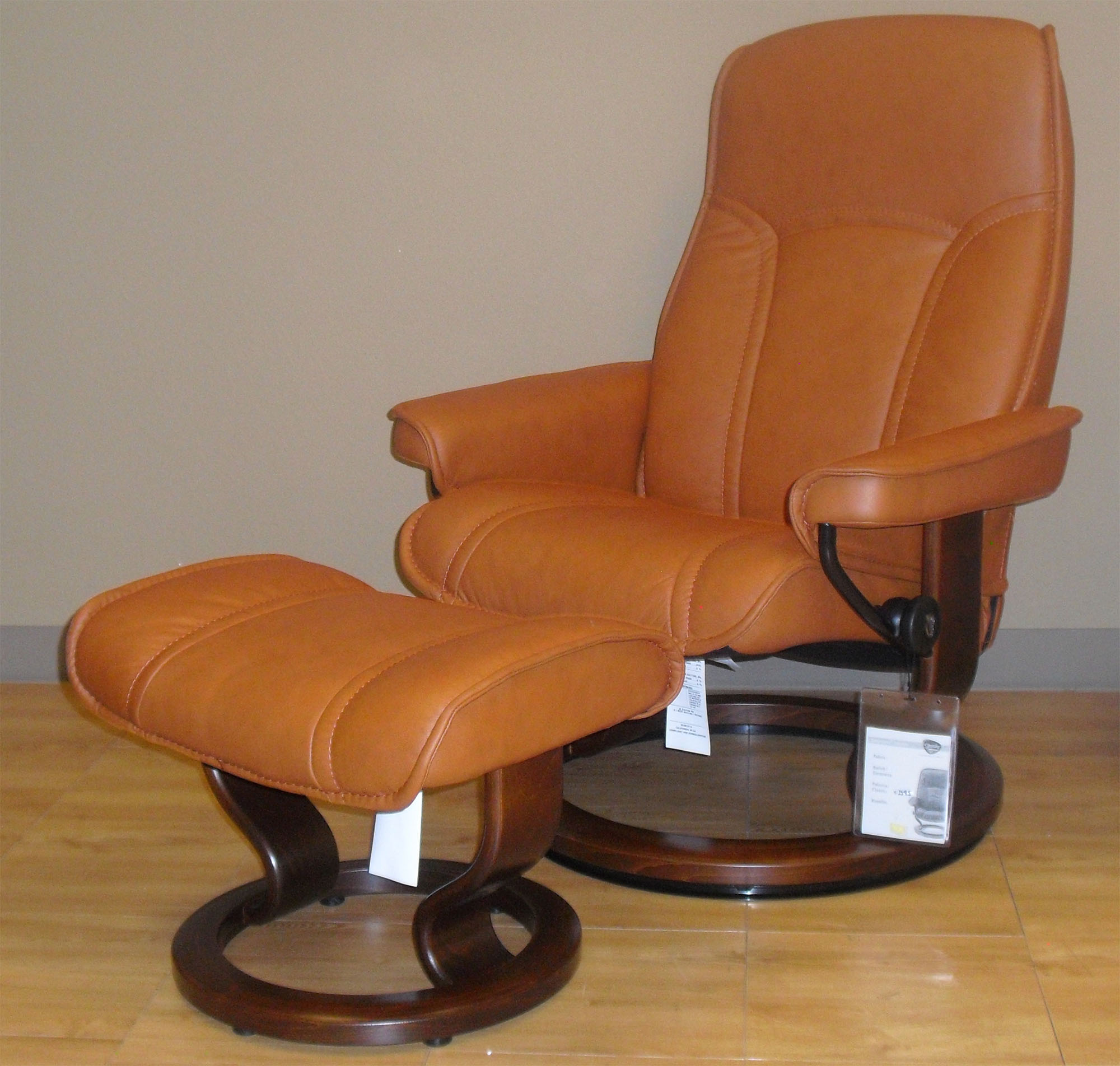 Stressless Governor Paloma Brandy Leather Recliner Chair