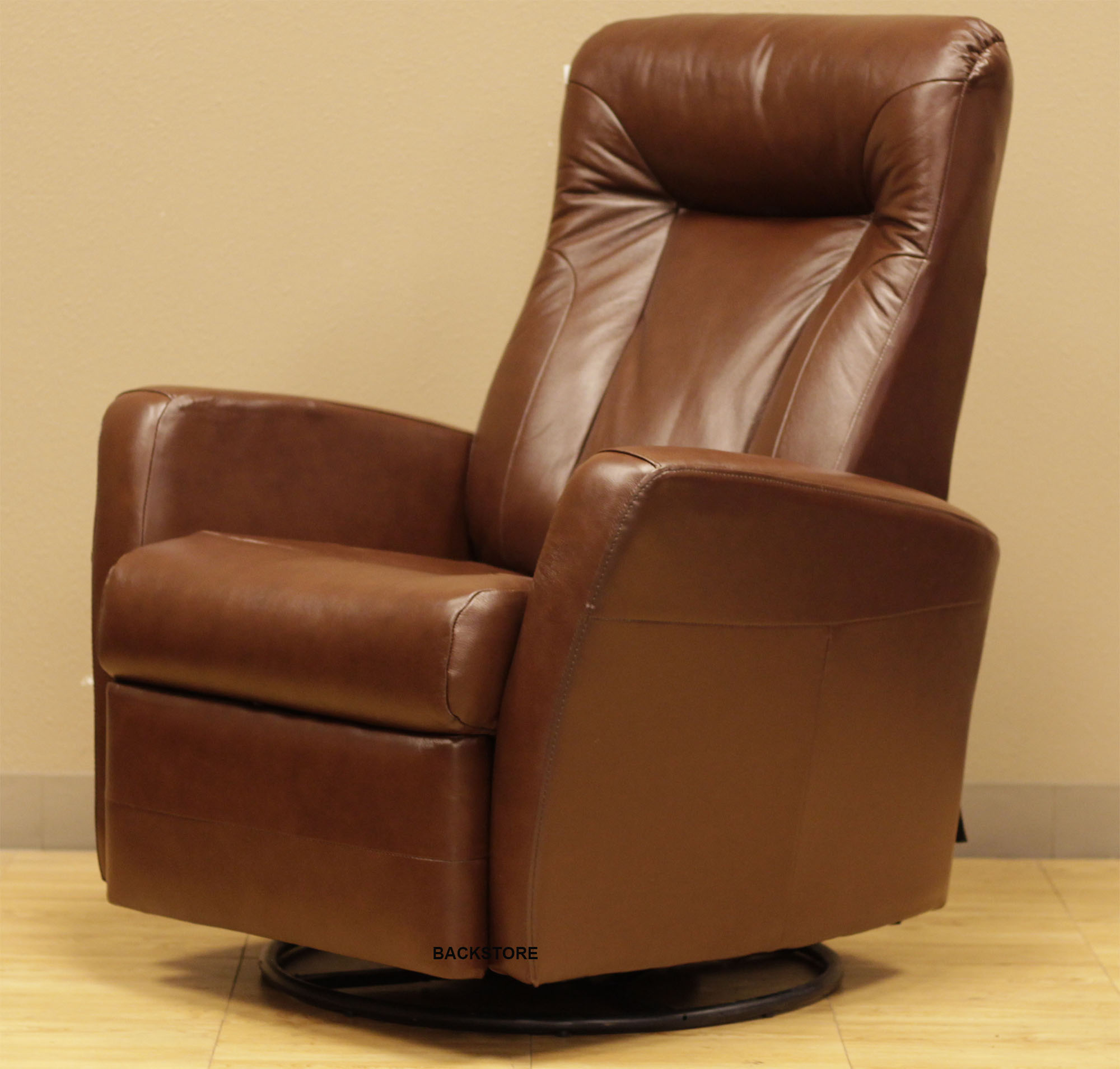 Barcalounger Grissom II Swing Rocker Glider Recliner Front In Brown Leather