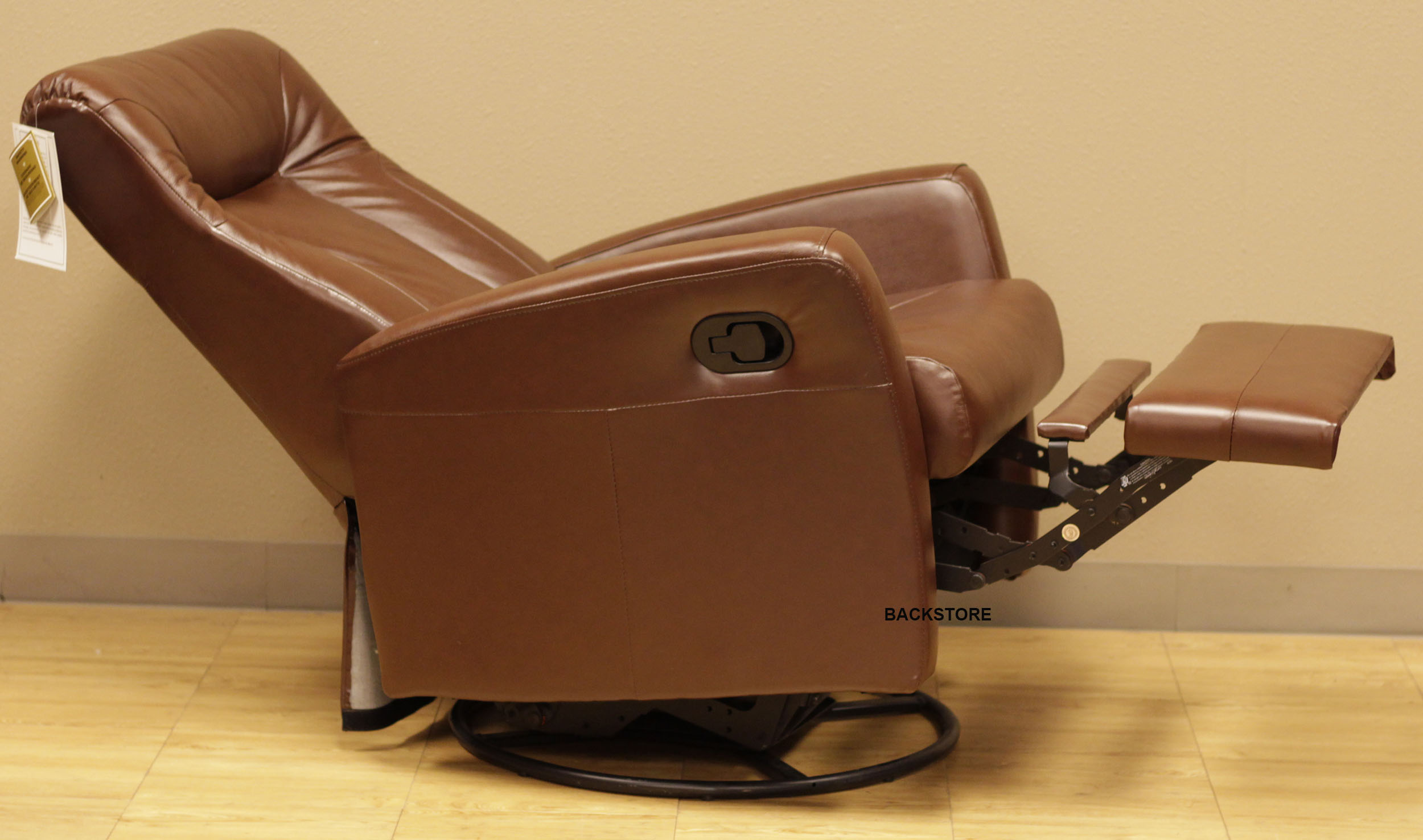 barcalounger grissom ii swing glider recliner chair brown leather