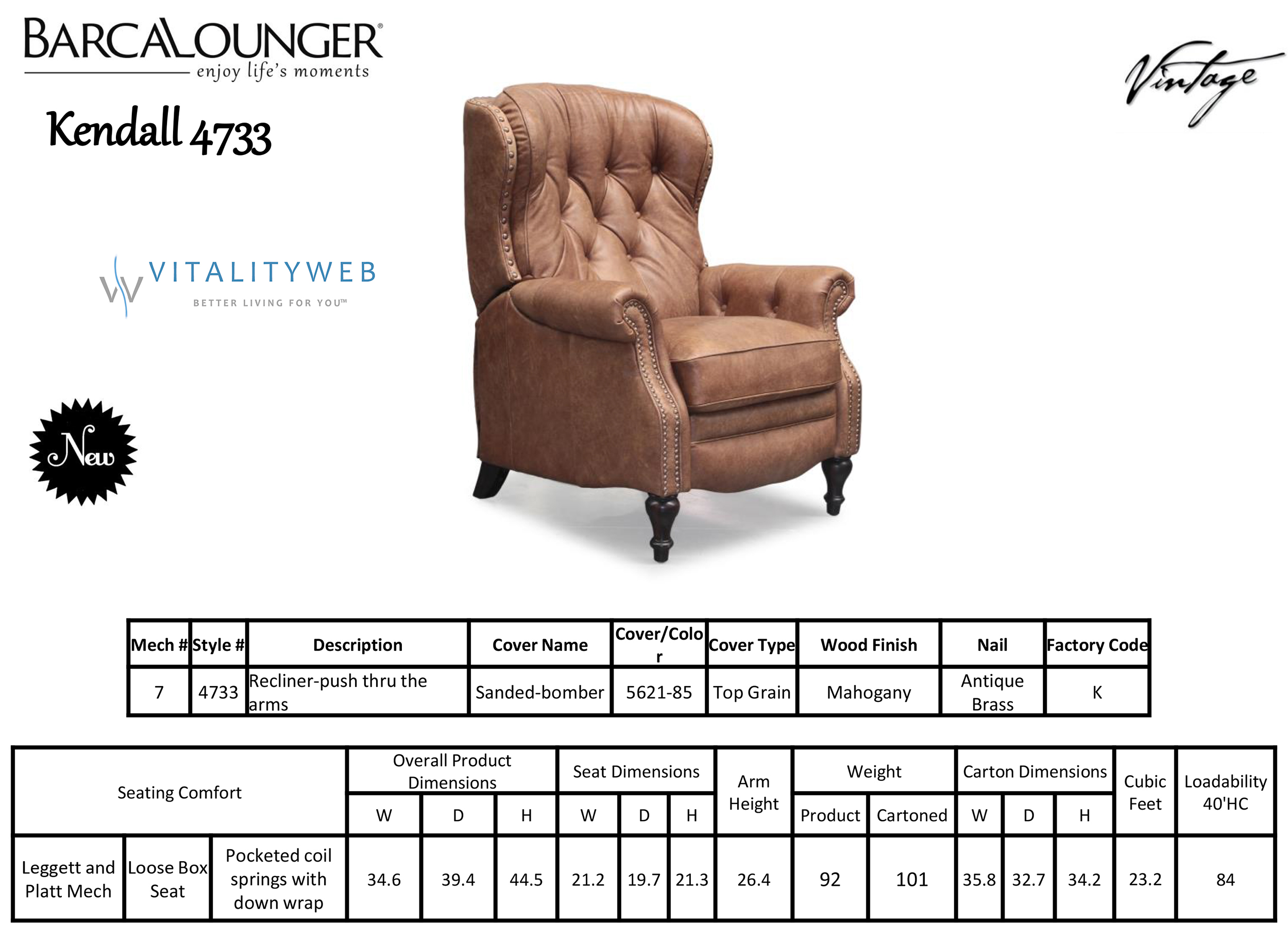 Barcalounger Kendall 4733 Leather Recliner Chair Dimensions  sc 1 st  Vitalitywebb.com & Barcalounger Kendall II Recliner Chair - Leather Recliner Chair ... islam-shia.org